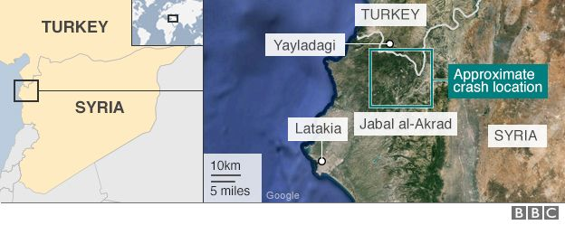 Map of Syria showing approximate location of Russian Su-24 crash site