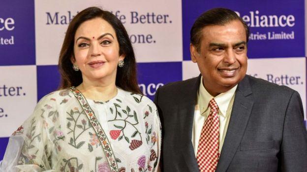 Mukesh Ambani y esposa