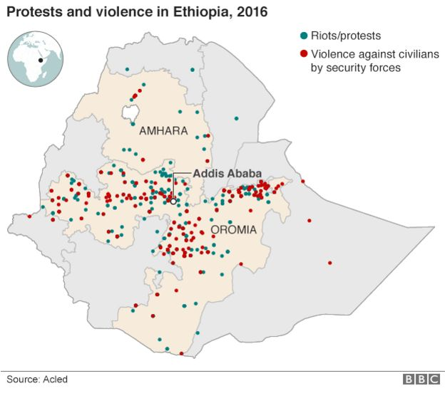 Seven things banned under ethiopias state of emergency bbc news map of protests and violence in ethiopia in 2016 gumiabroncs Choice Image