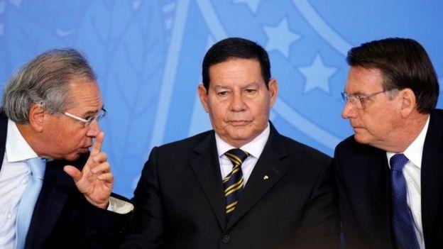 Paulo Guedes, Hamilton Mourão e Jair Bolsonaro