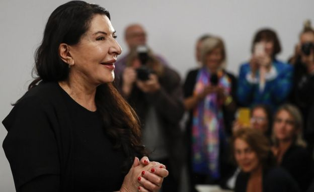 Serbian performance artist Marina Abramovic poses for the photographers during the presentation for the media of her exhibition 'The Cleaner' in Sept 2019