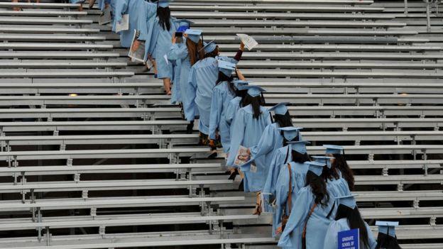 Estudiantes graduados en universidad de Nueva York.