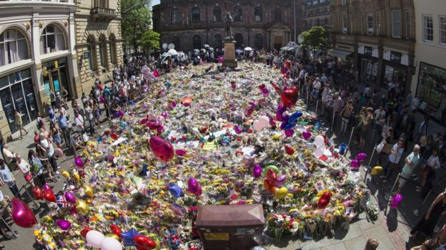 Floral tributes to 22 May victims in Manchester