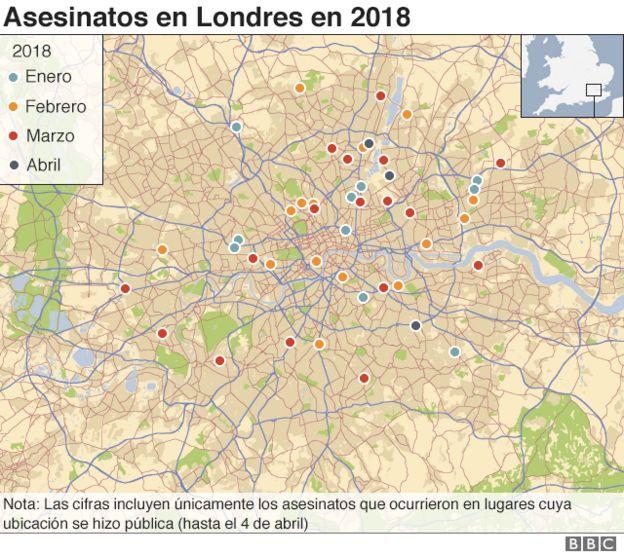 Mapa de Londres que indica dónde ocurrieron los asesinatos.