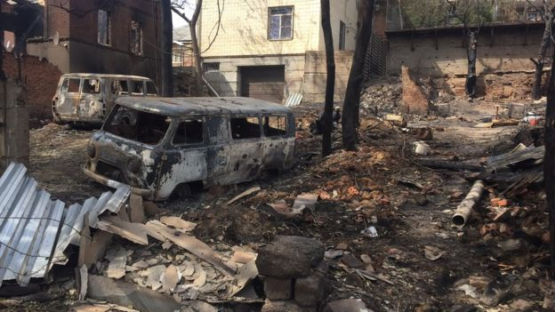 A picture of the Russian city of Rostov after a suspected arson attack. In an arson attack in Rostov, buildings were burnt to the ground, 118 houses were damaged and one person was killed. The Russian Liberation Movement claimed responsibility, but there's no indication the group had anything to do with the attack - or is even a real group of fighters at all