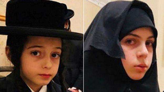 Chaim Teller, de 12 anos, e sua irmã Yante Teller, de 14 anos