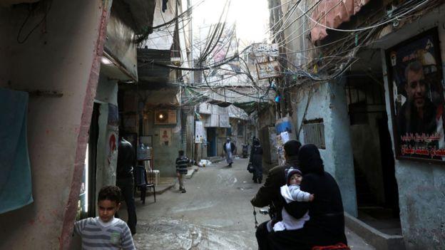 Campamento de refugiados en Beirut
