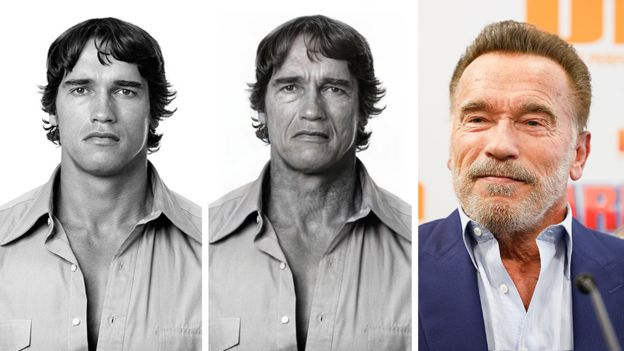 Composite image of Arnold Schwarzenegger before the app, after it and what he looks like now