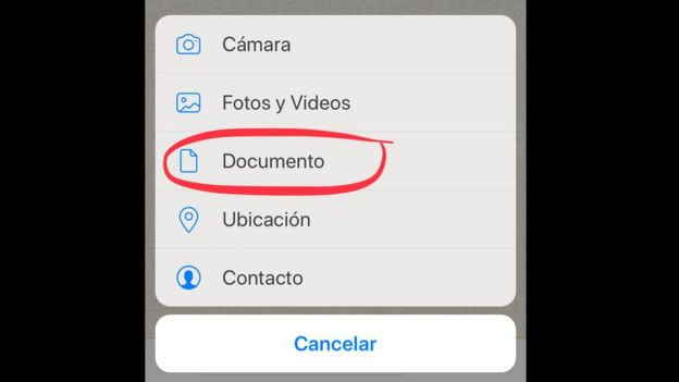 Adjuntar documento a través de Whatsapp