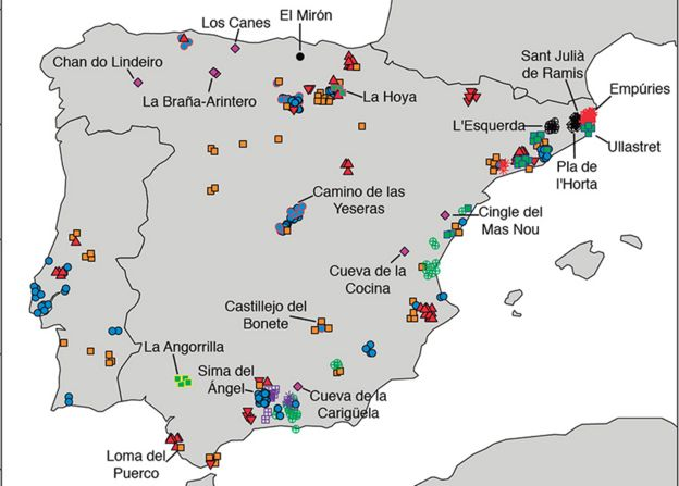 Mapa de España que muestra los sitios donde se obtuvieron muestras de ADN para el estudio