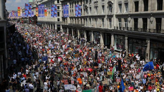 Protesto contra Trump em Londres