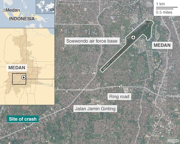 Map of Medan showing crash site