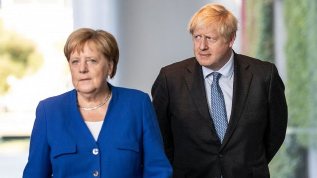 Angela Merkel and Boris Johnsno
