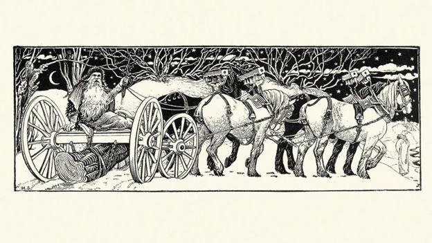 Noel Baba ve Yule kütüğünü gösteren 1800'lerde yapılmış bir eskiz