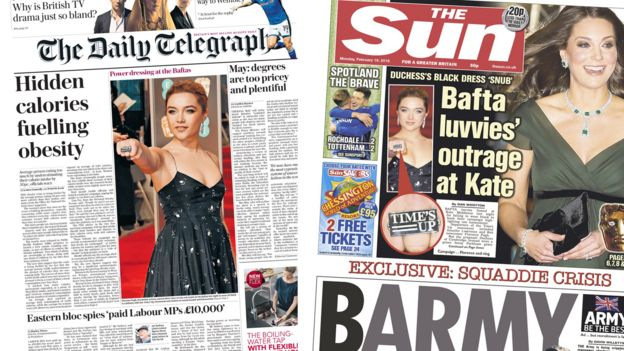 Composite of Daily Telegraph and Sun front pages