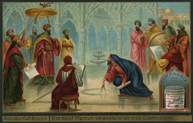 El califa abasí Al-Mamun reunido con el equipo de eruditos de renombre de la época a quienes les asignó la tarea de calcular el tamaño de la Tierra.