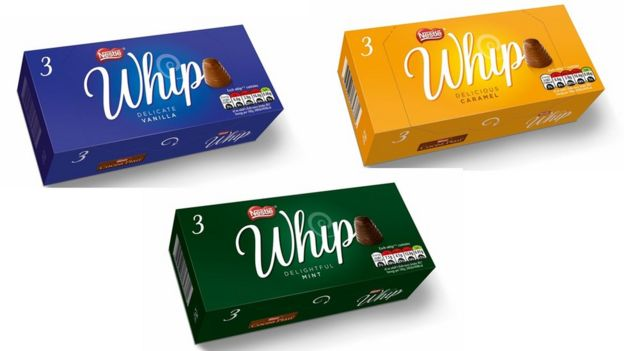 Boxes of new Nestle Whip chocolates