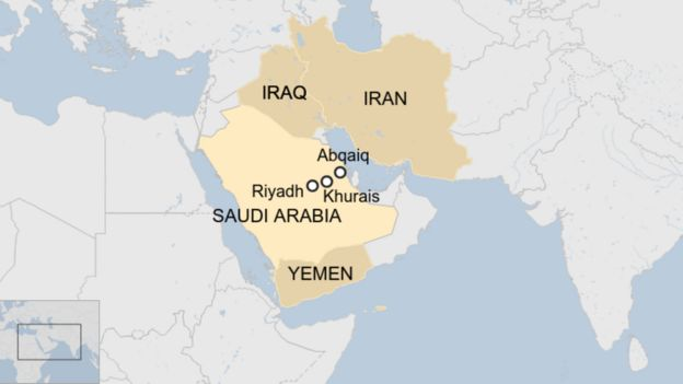 Saudi Arabia with capital Riyadh, the two oil facilities Abqaiq and Khurais, Yemen to the south and Iraq and Iran to the north