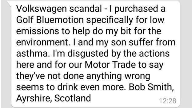 Bob Smith: I purchased a Gold Bluemotion specifically for low emissions to help to my bit for the environment. I and my son suffer from asthma. I'm disgusted by the actions here and for our Motor Trade to say they've not done anything wrong seems to drink even more.