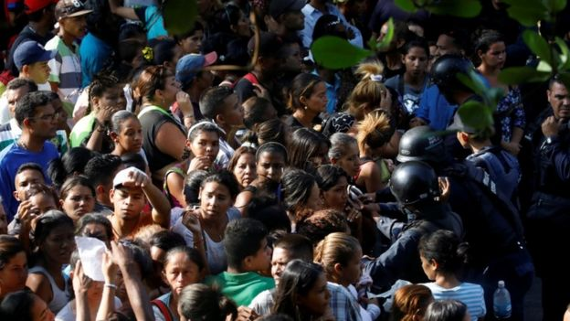 Anxious relatives gathered for news in Valencia, Carabobo