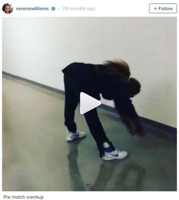 Captura de pantalla de la cuenta de Instagram de Serena Williams