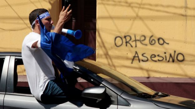Manifestante en Nicaragua