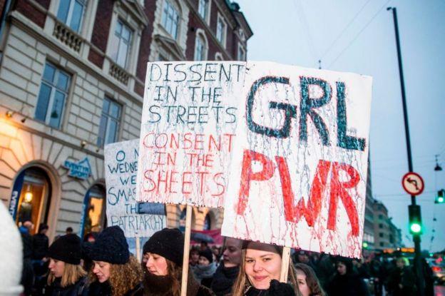 Marcha das Mulheres em Copenhague em 2017