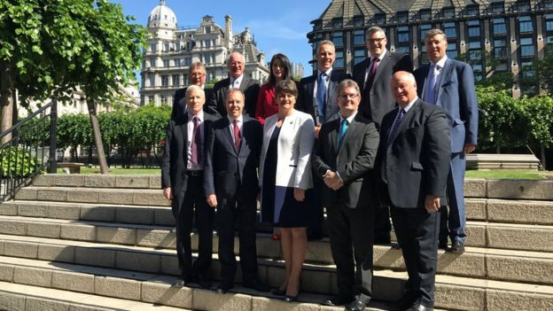 Arlene Foster and the 10 MPs Theresa May hopes will keep them in power