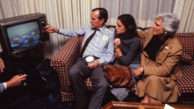 The Bush family watch the 1988 election results come in