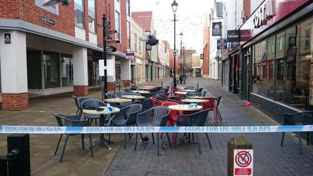 Parts of the town centre cordened off