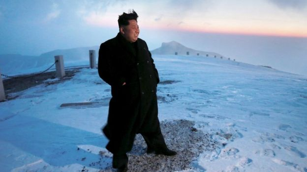 Kim Jong-un on top of Mount Paektu in 2015
