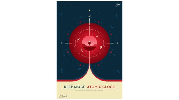 Pôster da Nasa celebrando o novo relógio atômico