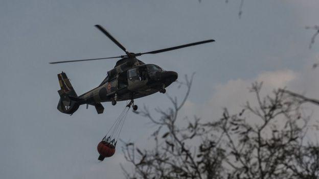 Helicóptero na região de Chiquitanía