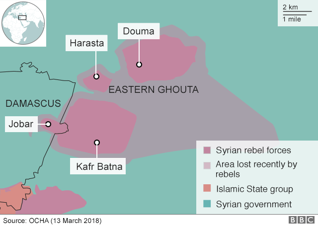 Map showing control of the Eastern Ghouta on 13 March 2018