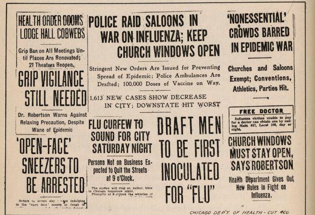 Titulares de periódicos de Chicago relacionados con la pandemia de gripe española