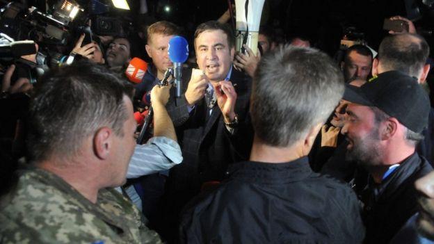 Саакашвили на украинско-польской границе