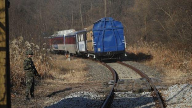 Train travelling through the DMZ (30 Nov 2018)
