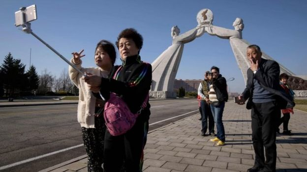 Chinese tourists in Pyongyang in April 2019 - before the outbreak