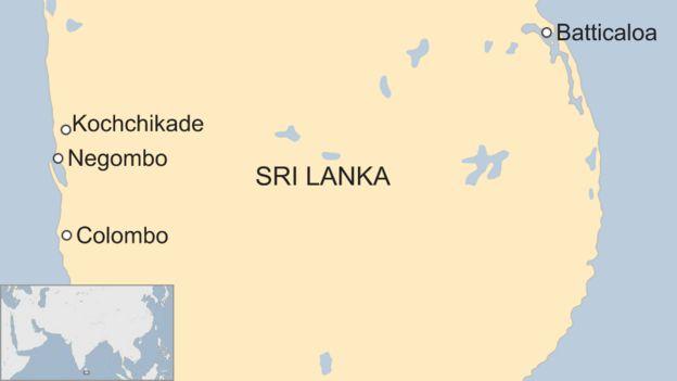 Mapa com localização do Sri Lanka
