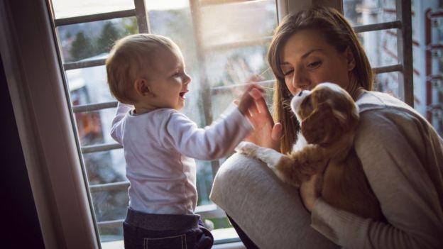 Una madre con su pequeño hijo y un perro