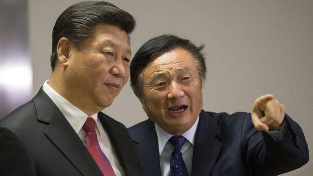 El presidente de China, Xi Jinping, junto a Ren Zhengfei en Londres