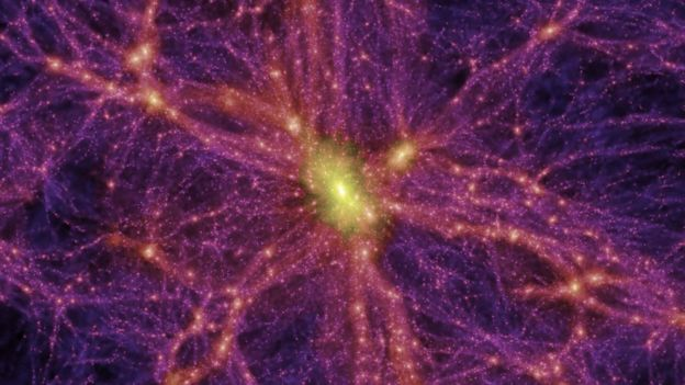 Computer-generated image. 'Dark Matter' which some scientists believe is everywhere in the universe is shown in pink.