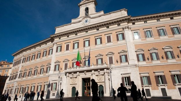Montecitorio, sede de la Cámara de Diputados de Italia.