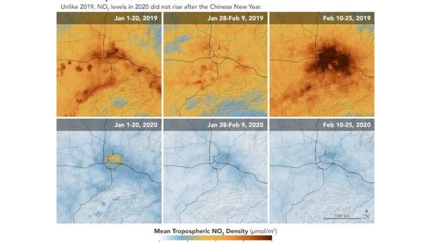美国太空总署(NASA)称,中国农历新年假期常常会带来空气污染水平的降低,但是今年的疫情令污染下降持续的时间更长。