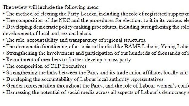 Terms of reference of Labour democracy review