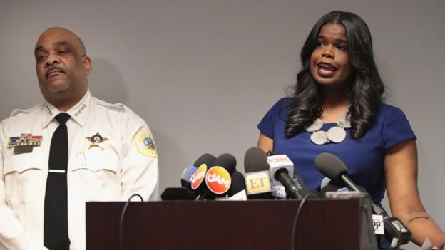 Cook County State's Attorney Kim Fox and Chicago Police Superintendent Eddie Johnson,