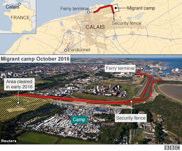 Map of the Calais migrant camp