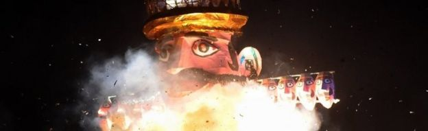 An effigy of demon king Ravana is set on fire in Delhi, India. Photo: 19 October 2018