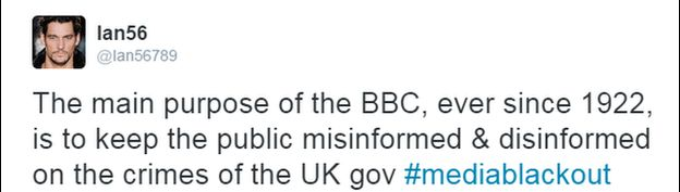 The main purpose of the BBC is to keep the public misinformed about the crimes of the UK government