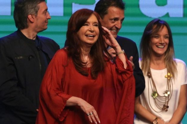 Former President Cristina Fernandez de Kirchner celebrates the election result in Buenos Aires, Argentina, on 27 October